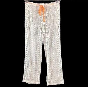 Victoria's Secret White Lace Drawstring Pants